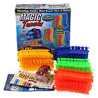Детская игрушечная дорога - конструктор Magic Tracks 220 деталей, Светящаяся гибкая гоночная трасса, Скидки