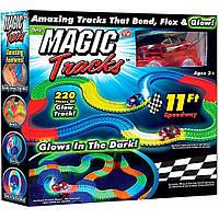 Детская игрушечная дорога - конструктор Magic Tracks 220 деталей, Светящаяся гибкая гоночная трасса, Акция