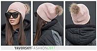 Женская шапка с бубоном из натурального меха в разных цветах
