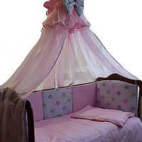 Спальный комплект для новорожденного Розовые Совушки, фото 1