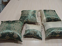 Комплект подушек 5шт зеленые с золотым узором, фото 1
