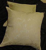 Комплект подушек 2шт светло песочные с вензелем, 40х40, фото 1