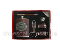 Подарочный мужской набор Jack Daniels 6пр: фляга, лейка, 2 рюмки, ручка, брелок