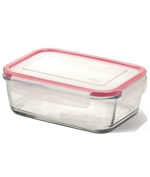 Контейнер стеклянный Emsa Clip&Close Glas 1.3 л для приготовления и хранения Прямоугольный Розовый (EM508105)