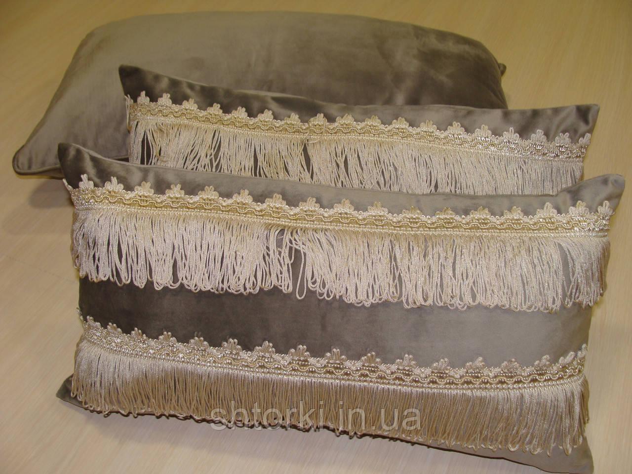 Комплект подушок сірі 3шт оксамит