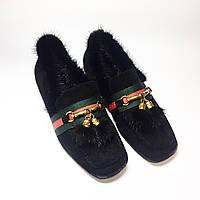 Туфли женские с мехом GUCCI   черные