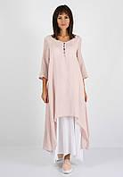 Длинное асимметричное платье, лён/батист