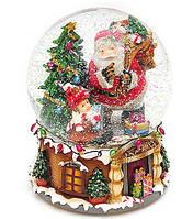 """Музыкальный снежный/водяной шар """"Санта с подарками""""  20 см"""