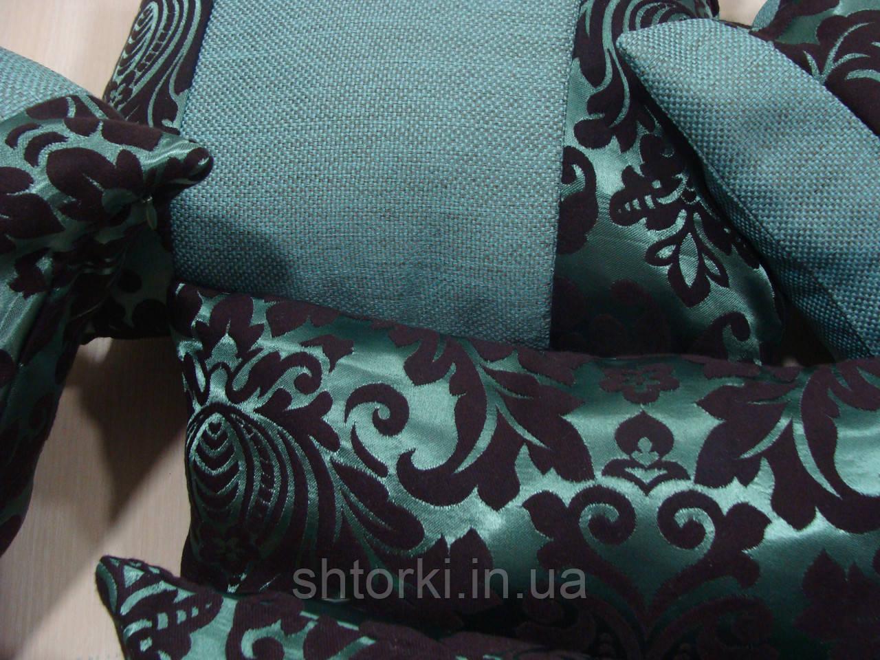 Комплект подушек  бирюза коронка, 5шт