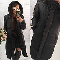 Женское длинное зимнее тёплое пальто одеяло пуховик с глубоким капюшоном и манжетами чёрное S M L