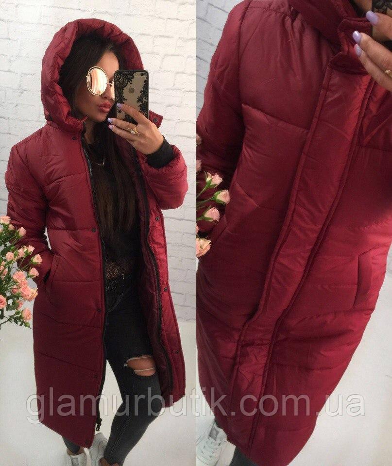 5985339fb64 Женское длинное зимнее тёплое пальто пуховик с капюшоном бордовое S M L -  GlamurButik - женская одежда оптом