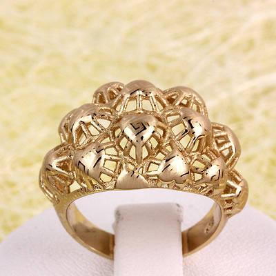 002-2759 - Позолоченный перстень с лазерной гравировкой, 16, 18 р