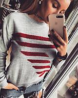 Женский шерстяной свитер с полосками в расцветках 18KF93