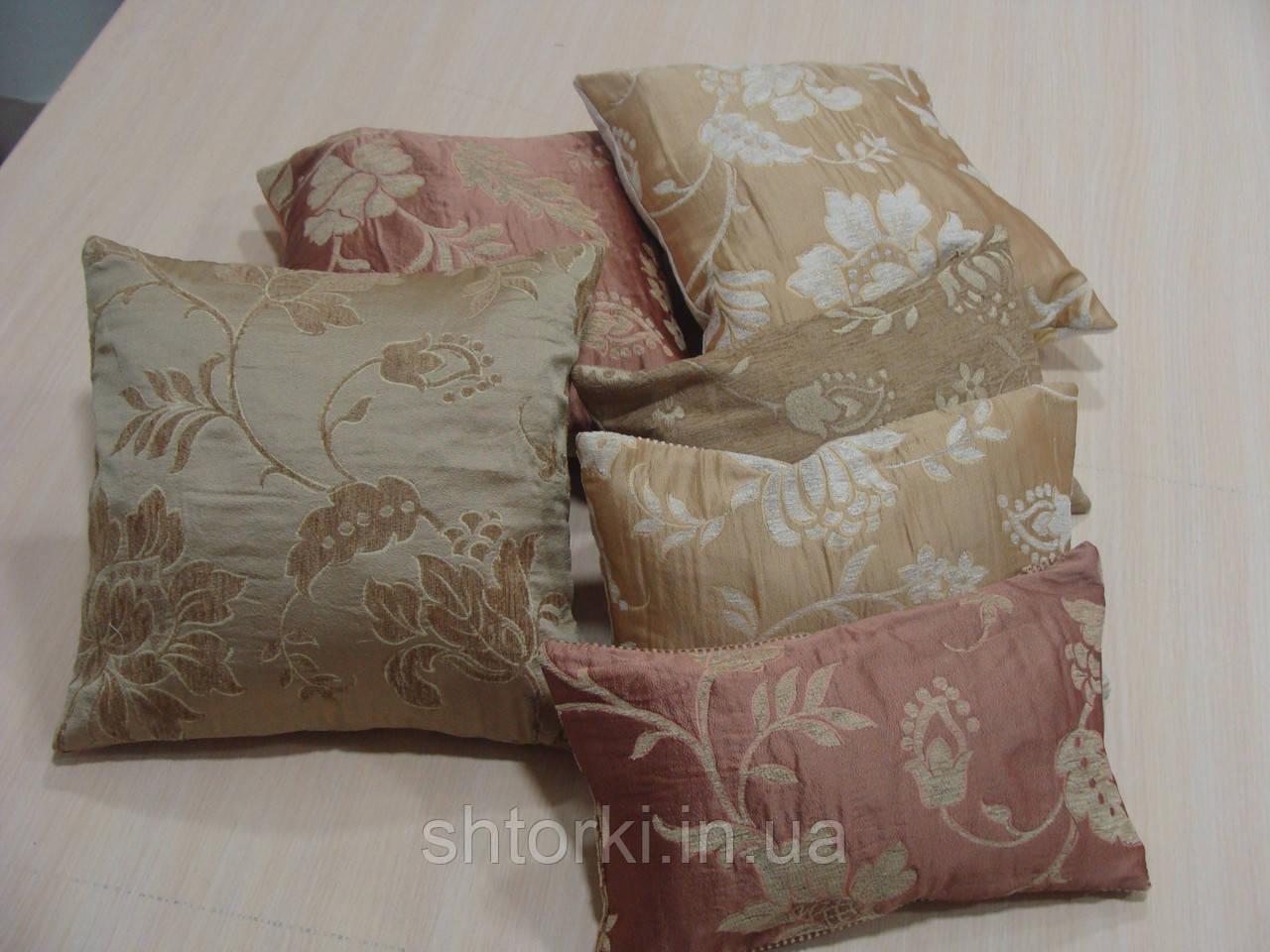 Комплект подушок беж коричневі теракот , 6шт