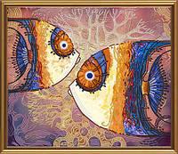 """Ткань с нанесенным рисунком-схемой (атлас) """"Морские рыбы"""", для вышивания бисером, 35*30см"""