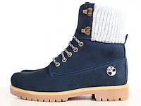 Женские ботинки Timberland на меху, синие