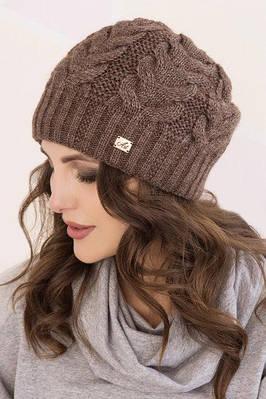Купить Женская вязаная шапка тёплая коричневая в интернет-магазине ... e29c7e130d602