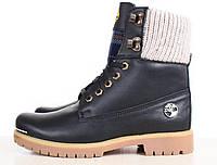 Женские кожаные ботинки Timberland на меху, черные