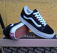 Зимние кеды Vans old school с мехом (унисекс) black/white (вансы, олды, old skool, winter vans)