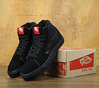 Зимние кеды Vans Old Skool high CANVAS SK8-HI all black с мехом (Реплика ААА+)