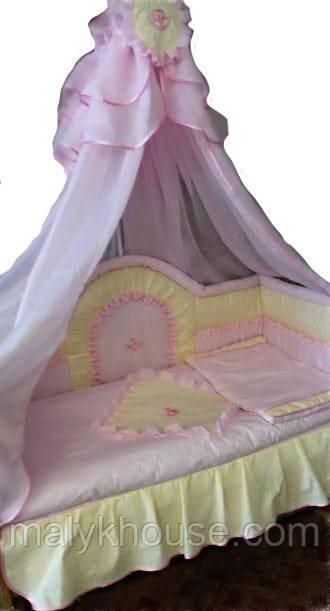 Комплект в кроватку для новорожденного Розовый Ангелочек