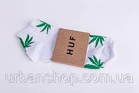 Шкарпетки. Носки короткие Huf - Weed, White/Green