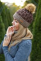 Зимняя вязаная женская шапка с бубоном на флисе