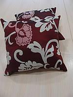 Комплект подушек бордо и молочные  завитки, 2шт 30х30см, фото 1