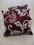 Комплект подушек бордо и молочные  завитки, 2шт 30х30см, фото 2
