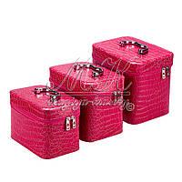 Кейс для косметики и украшений лаковый 3 в 1, малиновый , фото 1