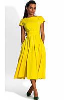 Желтое платье миди из бенгалина