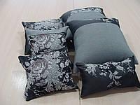 Комплект подушек  черные с серым роза, 6шт , фото 1