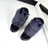 Зимние ботиночки с Ушками натуральный кролик
