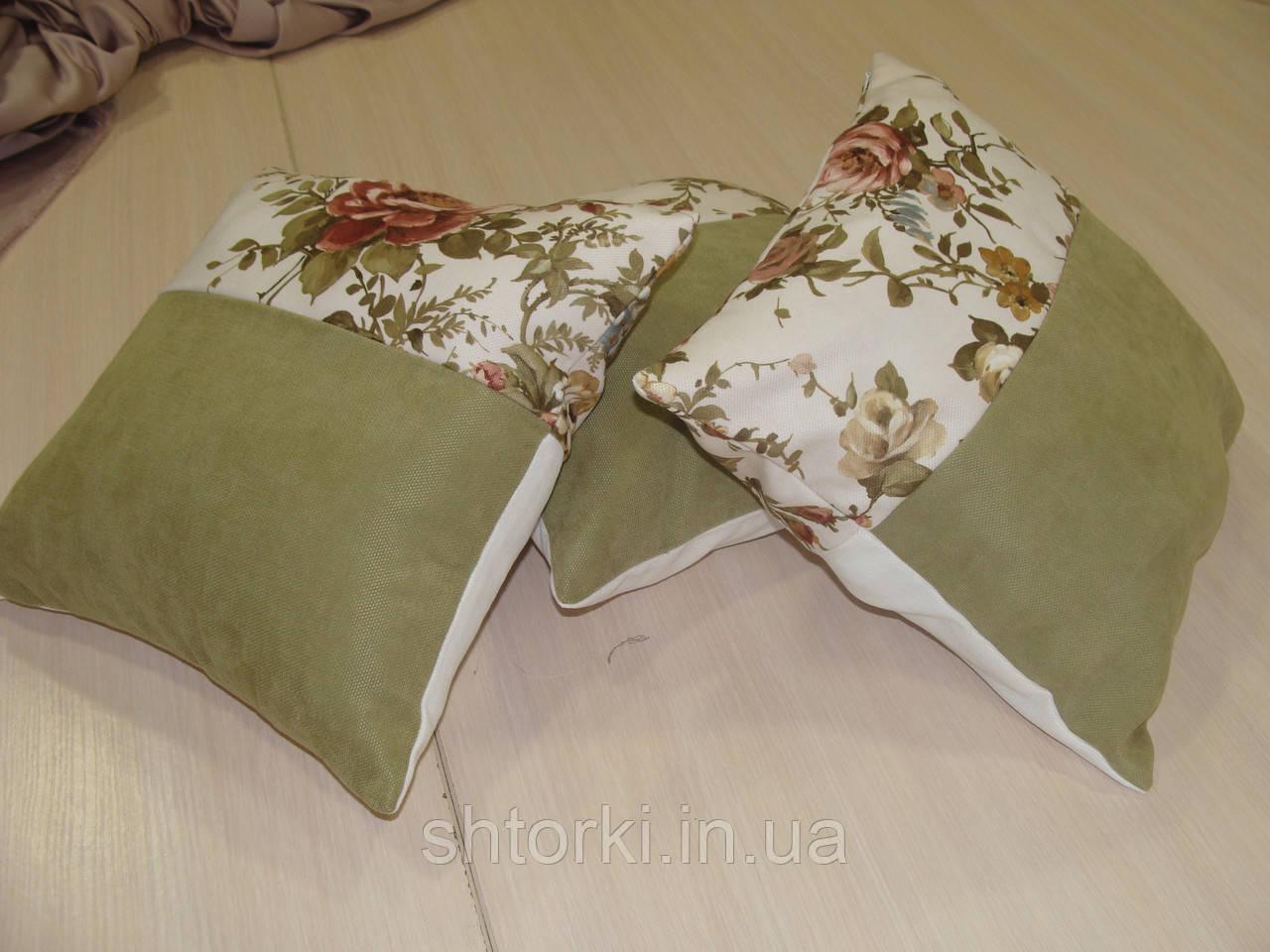 Комплект подушек  Розы молочные и зелень, 3шт 30х30