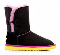 Сапожки женские UGG Bailey Button Noir Rose Jaune Оригинал