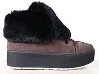 Женские замшевые ботинки на меху, коричневые