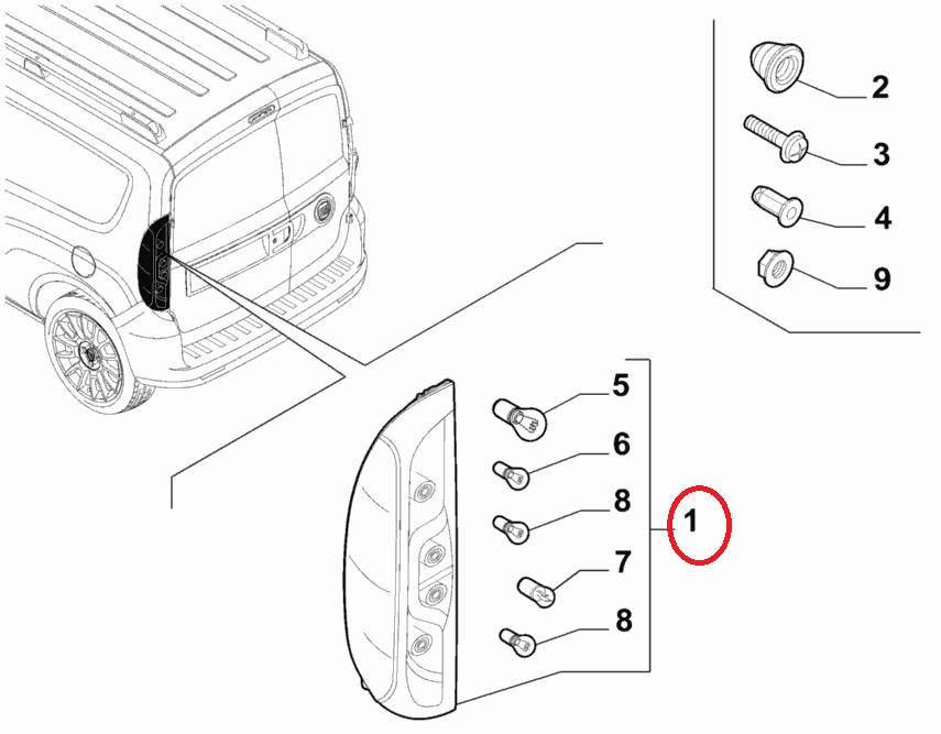 Фонарь стопа левый Doblo 2015- (распашная дверь) OPAR, Арт. 52044717, 52044717, 51974248, FIAT