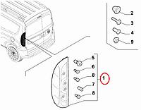 Фонарь стопа правый Doblo 2015- (крышка багажника) OPAR, Арт. 52044716, 51974249, 52044716, FIAT