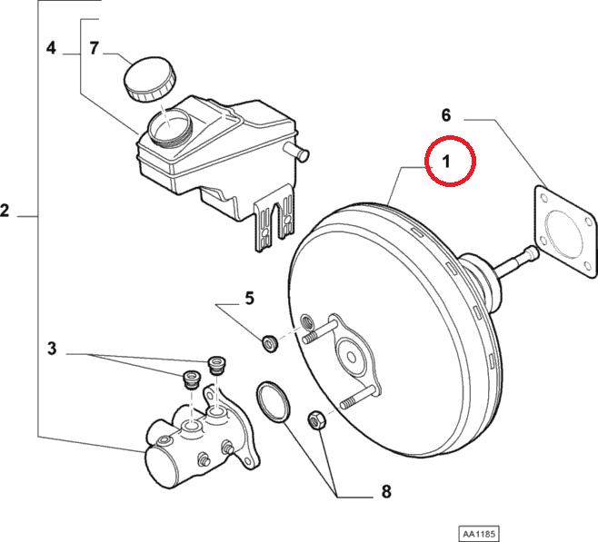 Усилитель тормоза Doblo 2009-2015, Doblo 2015-, Арт. 77365227 , 77365227 , FIAT