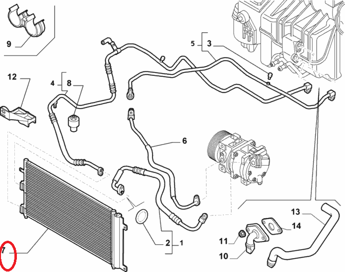 Радиатор кондиционера 1.4i 8v-1.6i + АС 16v Doblo 2005-2011, Арт. 51801843, 51801843, 6001070972, FIAT