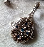 Подвес мощевик Святой Николай из серебра 925 пробы с голубыми фианитами