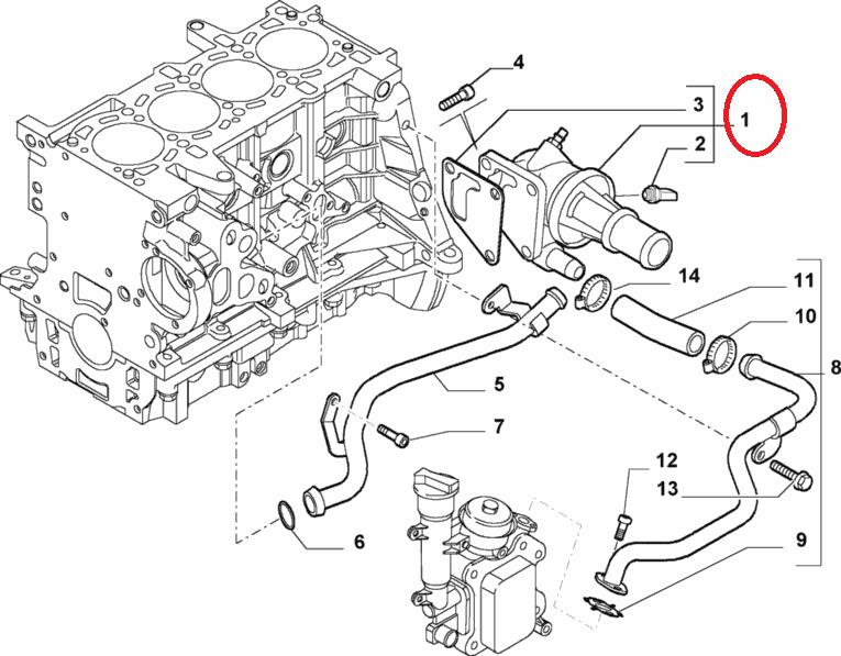 Термостат 1.3MJTD 16v (51-55kw) Doblo 2004-2016, Арт. 55224021, 55224021, FIAT
