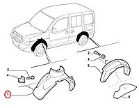 Подкрылок передний правый Doblo 2005-2011, Арт. 51755107, 51755107, FIAT