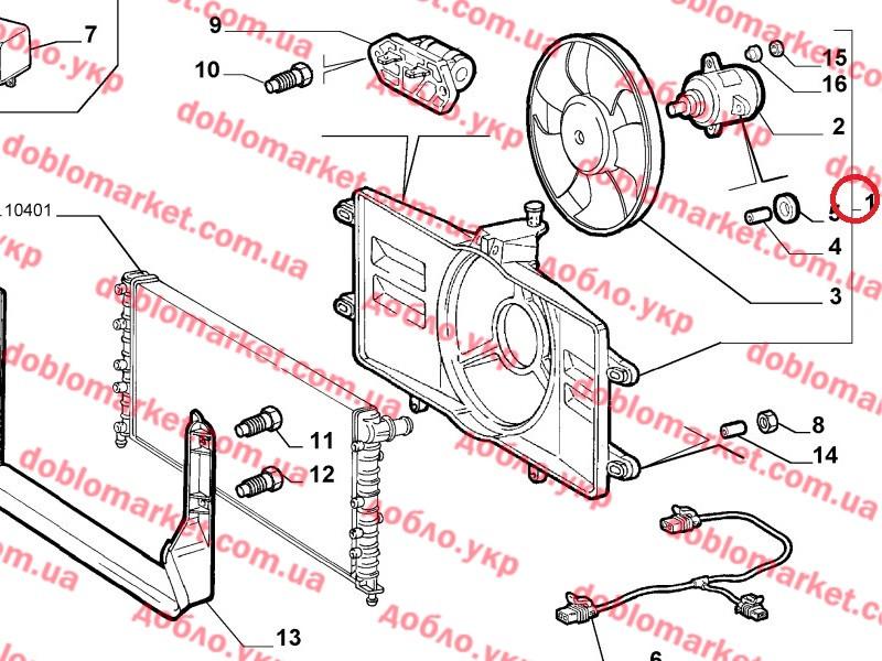 Диффузор с одним вентилятором 1.2i 8v Doblo 2000-2005, Арт. EV832500, 46737731, J.DEUS