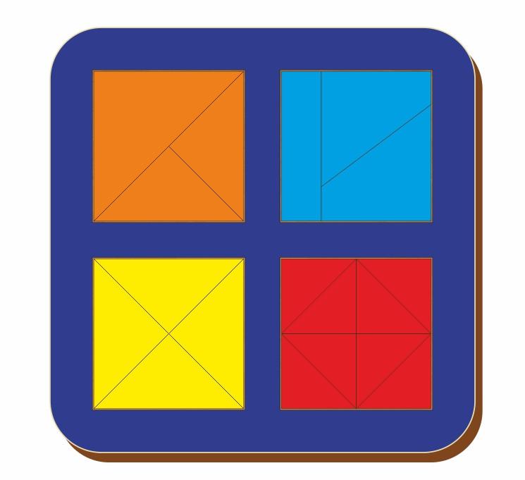 Сложи квадрат, Б.П.Никитин, 4 квадрата, 2х2, ур.2, 140*140 мм, 064204