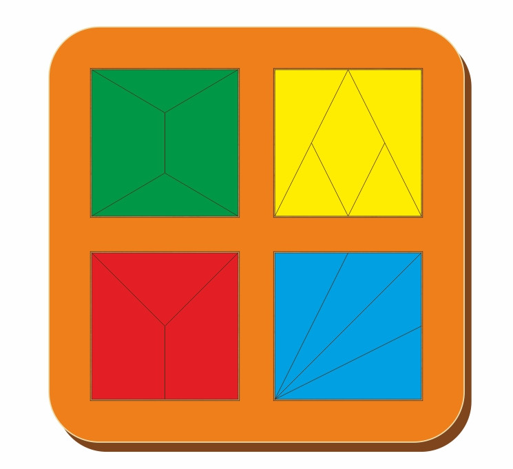 Сложи квадрат, Б.П.Никитин, 4 квадрата, 2х2, ур.2, 140*140 мм, 064203