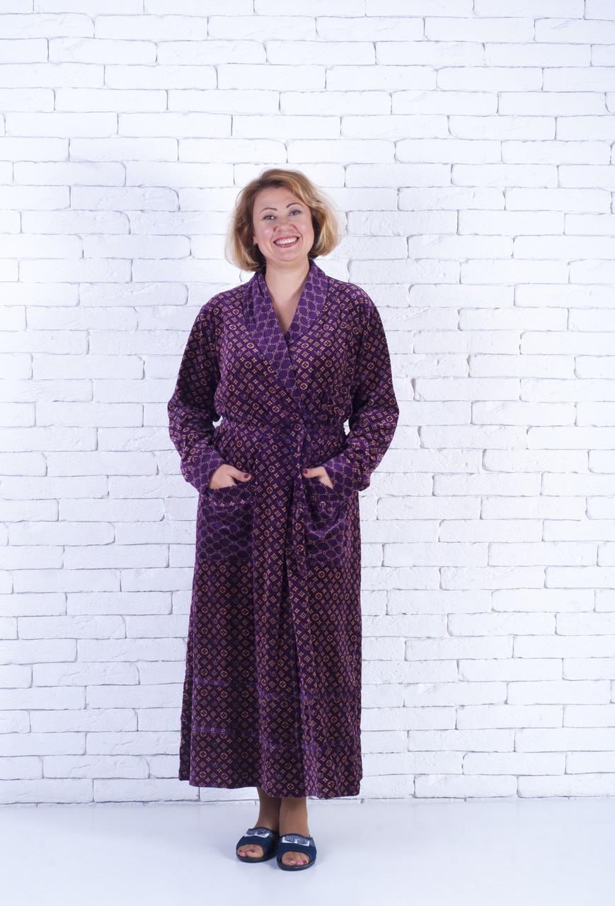Велюровый  женский халат длинный на запах 48-52