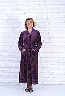 Велюровый  женский халат длинный на запах 48-52, фото 1