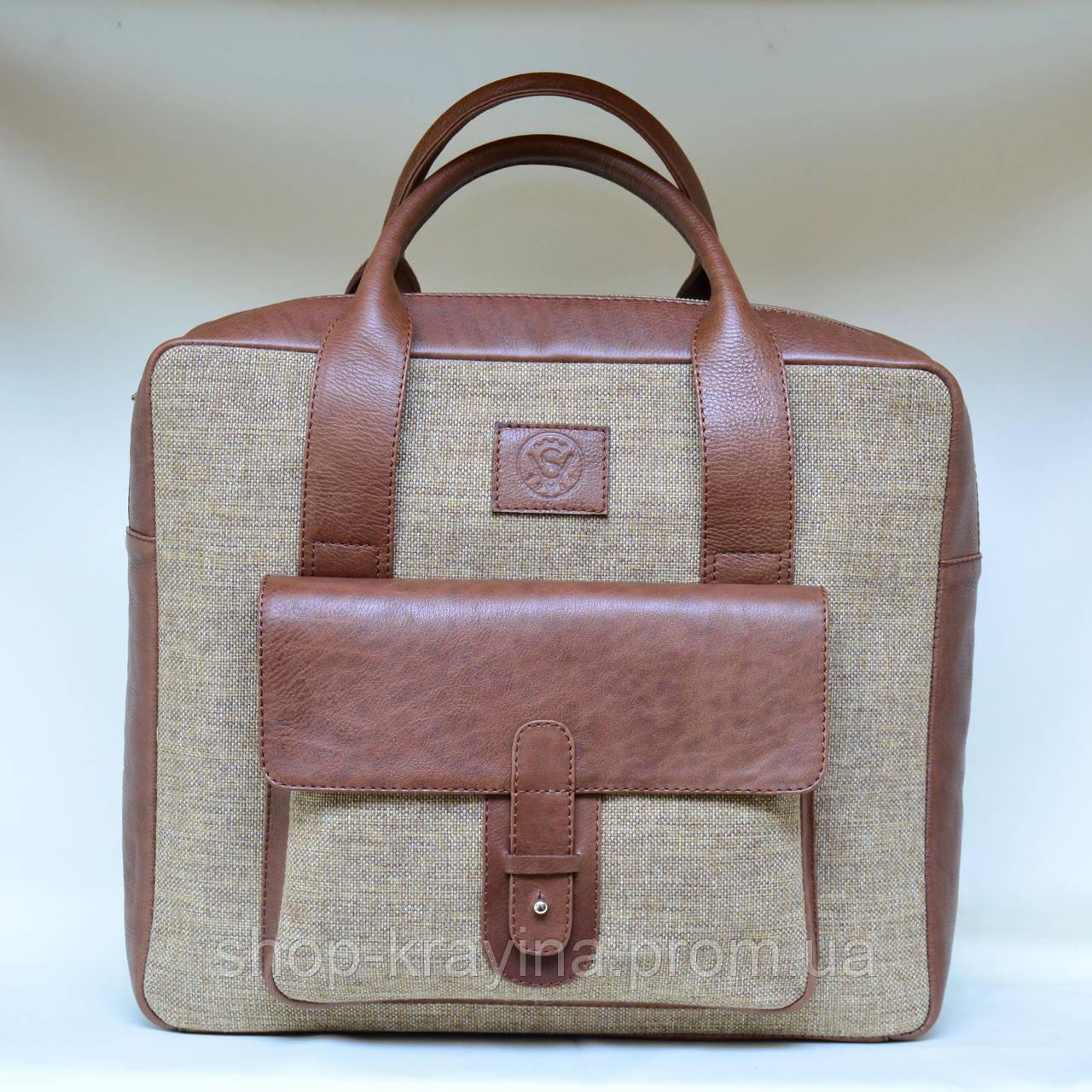 Сумка унисекс VS123 leather canvas 36Х30Х9  см