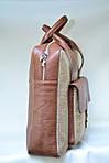 Сумка унисекс VS123 leather canvas 36Х30Х9  см, фото 3